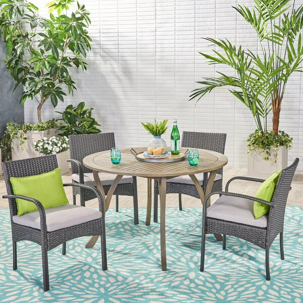 Grunewald 5 Piece Dining Set with Cushions by Charlton Home