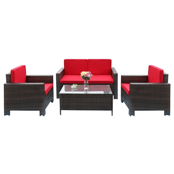 Caillat Patio 4 Piece Rattan Sofa Seating Group with Cushions by Latitude Run