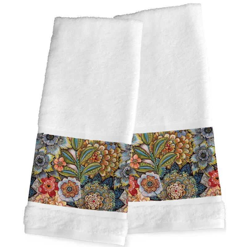 Bungalow Rose Haskell Boho Bouquet 2 Piece 100 Cotton Hand Towel Set Reviews Wayfair