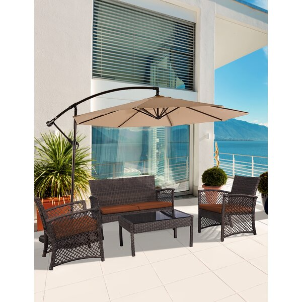 Brenton 4 Piece Rattan Sofa Seating Group with Cushions by Highland Dunes