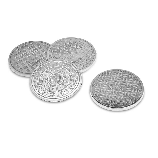 4 Piece USA Cities Manholes Coaster Set by Godinger Silver Art Co