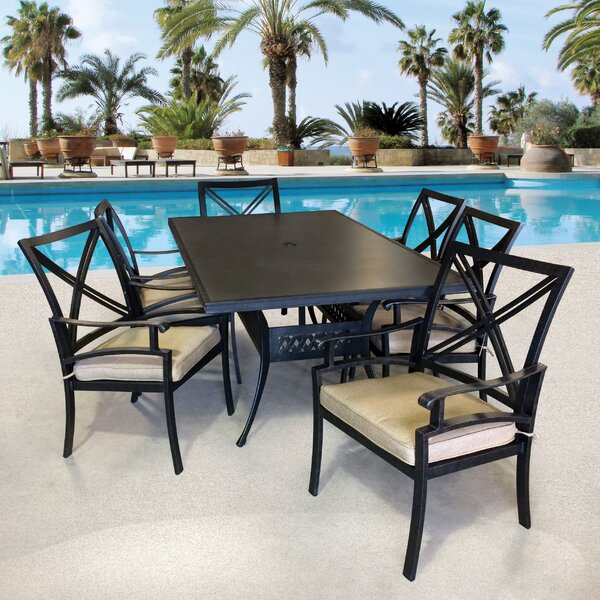 Aube 1 Table and 6 chairs Sunbrella Dining Set with Sunbrella Cushions by Canora Grey