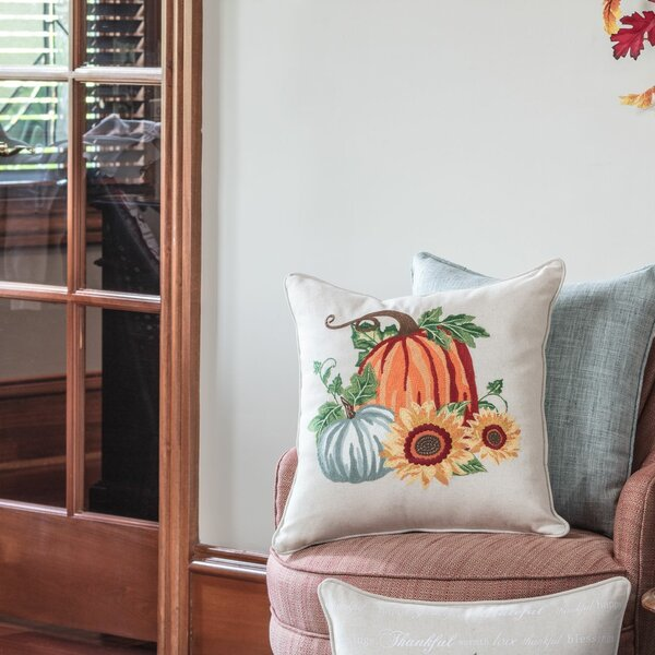 DeSoto Pumpkin Patch Embroidered Harvest Throw Pillow by August Grove