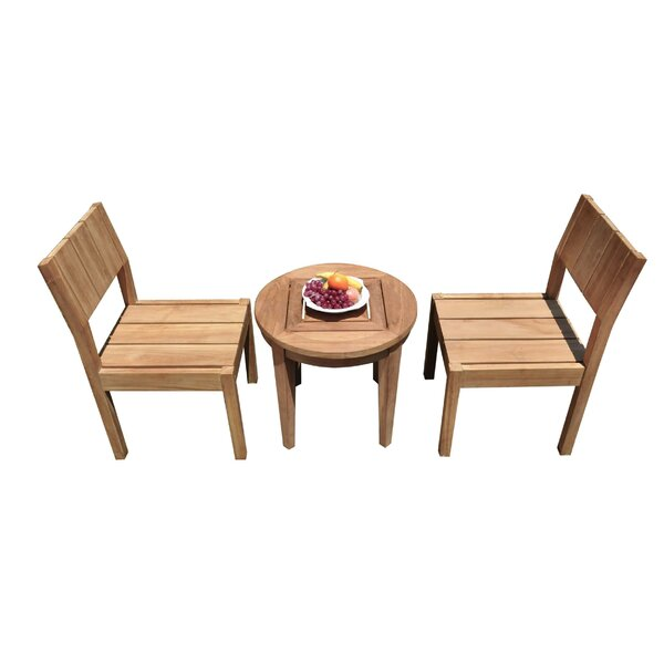 Medau 3 Piece Teak Bistro Set by Rosecliff Heights