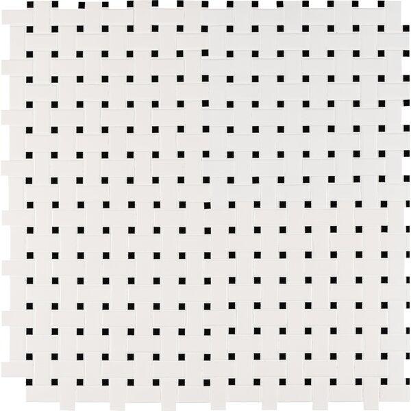 Basket Weave Random Sized Porcelain Mosaic Tile in White/Black by MSI