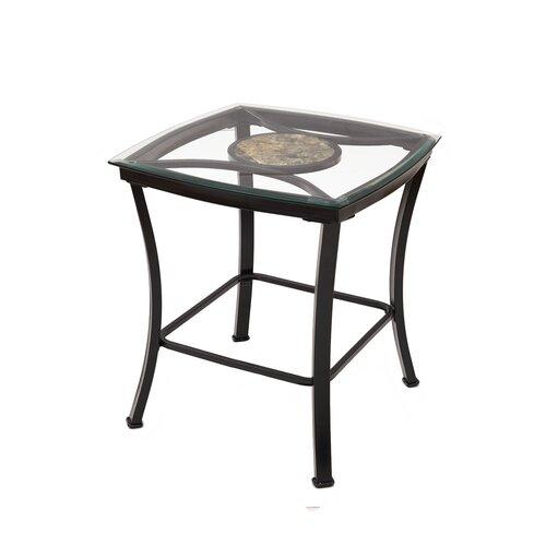 Eloise Glass Metal End Table by Fleur De Lis Living