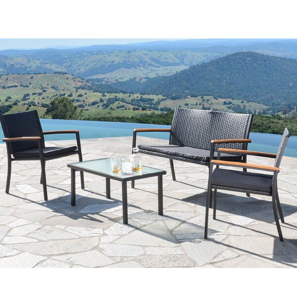 Byrdhill 4 Piece Sofa Set with Cushions by Andover Mills