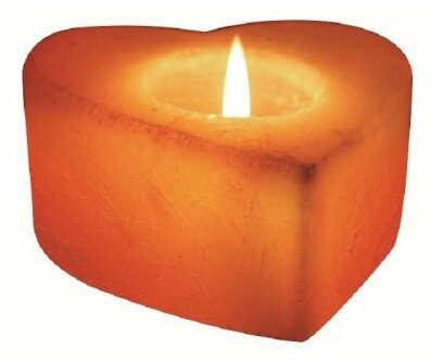 Himalayan Rock Salt Natural Crystal Heart-Shaped Tealight Holder by Deluxe Comfort