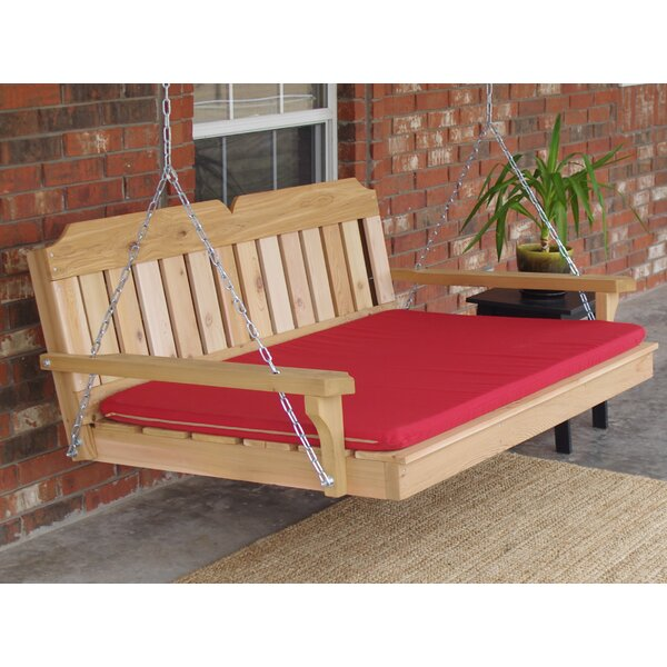 Brookston Cedar Victorian 2 Points Porch Swing with Cushion by Loon Peak Loon Peak
