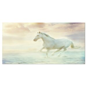 'Fantasy White Horse' Graphic Art on Wrapped Canvas by Design Art