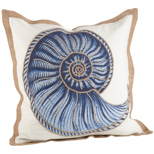 Aloisia Spiral Shell Cotton Throw Pillow by Highland Dunes