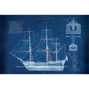 'Antique Ship Blueprint IV' Graphic Art Print on Wrapped Canvas by Beachcrest Home