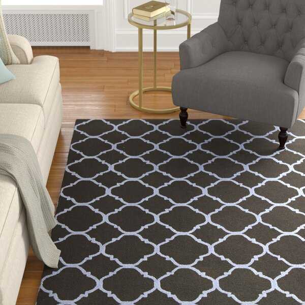 Fullerton Black/Blue Geometric Area Rug by Alcott Hill