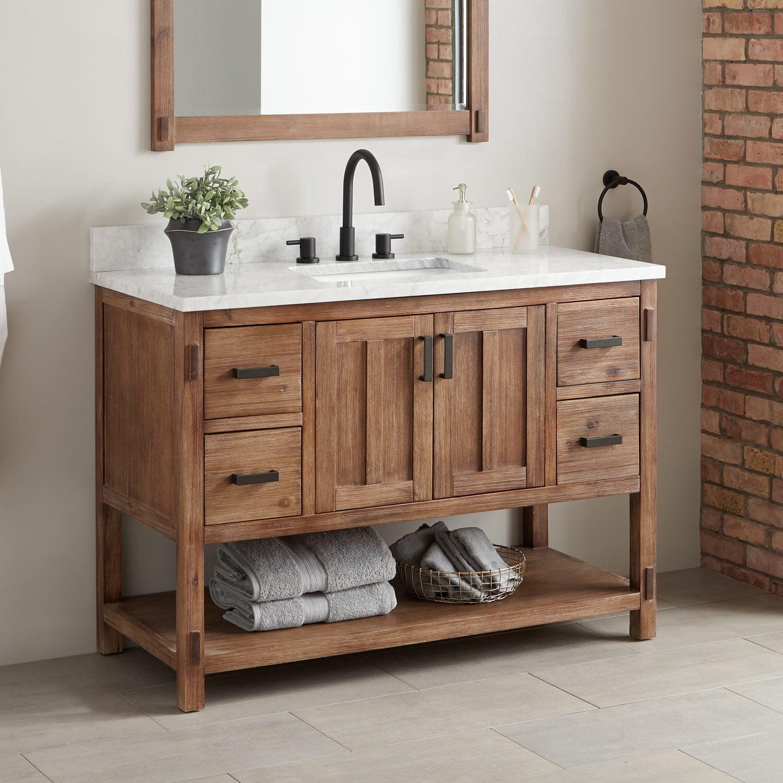 Signature Hardware Morris Marble 49 Single Bathroom Vanity Set Reviews Wayfair