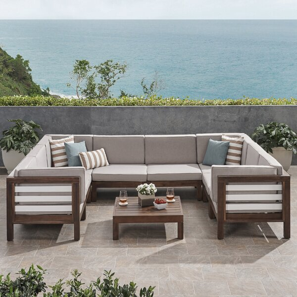 Parker Outdoor U-Shaped 9 Piece Sectional Seating Group with Cushions by Breakwater Bay