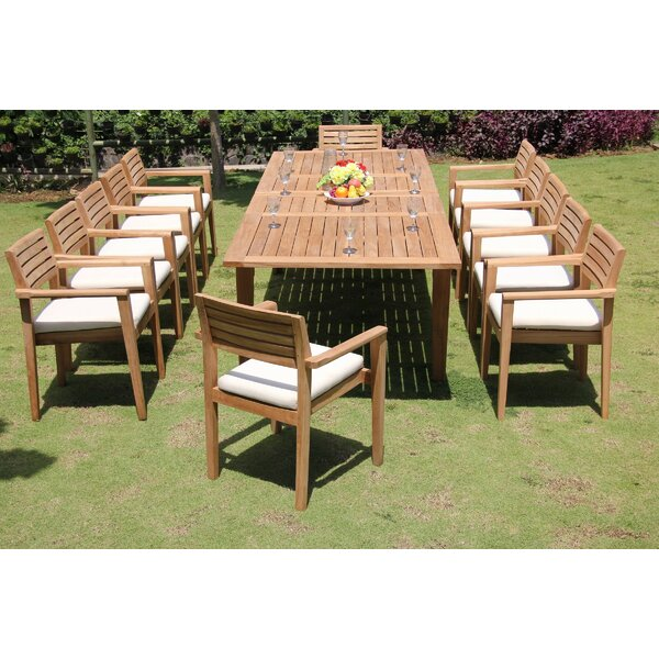 Modoc 13 Piece Teak Dining Set by Rosecliff Heights