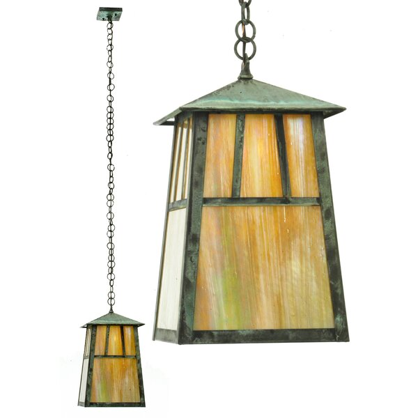 Stillwater Double Bar Mission Elongated 1-Light Lantern Geometric Pendant by Meyda Tiffany