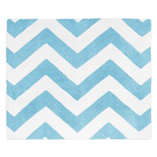 Online Reviews Chevron Turquoise / White Area Rug By Sweet Jojo Designs