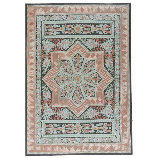 One-of-a-Kind Aubusson Hand Woven Wool Coral/Teal Area Rug by Pasargad