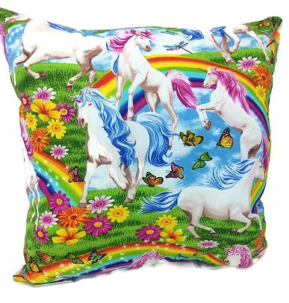 Unicorns and Butterflies Throw Pillow by East Urban Home