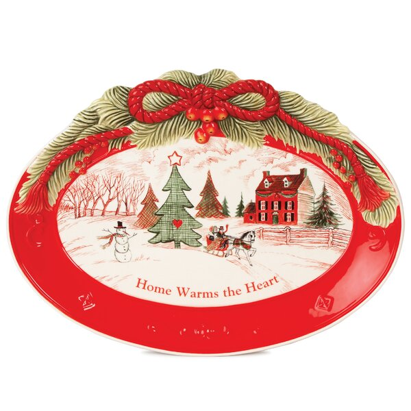 Home Warms The Heart Oval Cookie Platter (Set of 2) by Fitz and Floyd