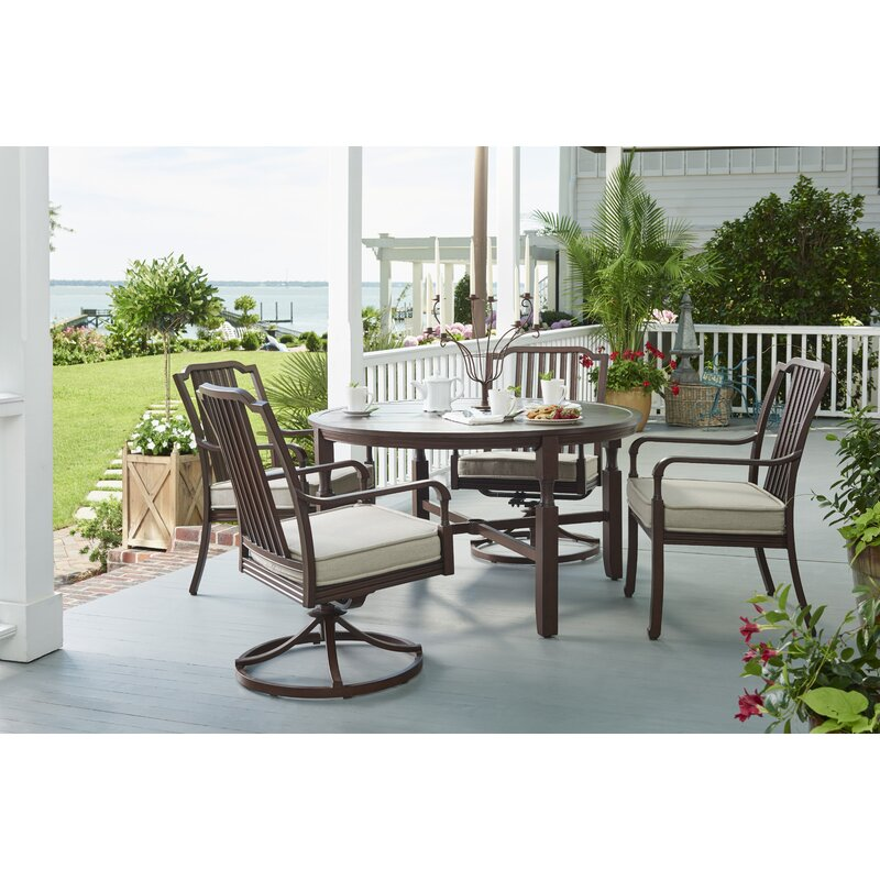 Canora Grey Bade 5 Piece Sunbrella Dining Set with ... on Bade Outdoor Living id=80552