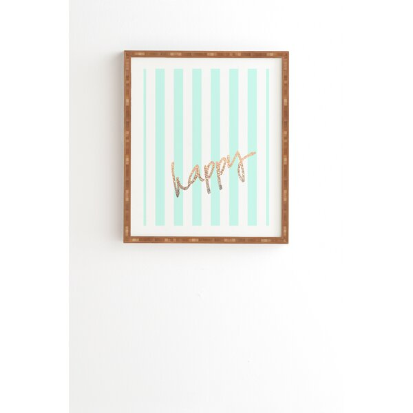 Pretty Happy Mint Framed Graphic Art by East Urban Home