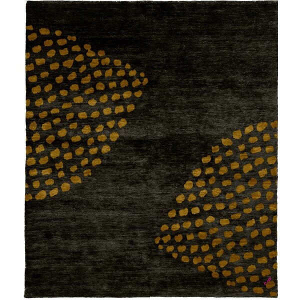 One-of-a-Kind Dulcia Hand-Knotted Tibetan Dark Gray/Yellow 8' Square Wool Area Rug