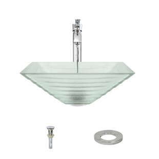 Great choice Tiered Glass Square Vessel Bathroom Sink with Faucet ByMR Direct