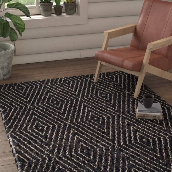 Pace Hand-Woven Black Area Rug by Union Rustic