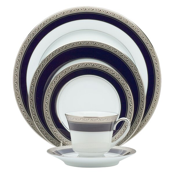 Crestwood Cobalt Platinum 20 Piece Dinnerware Set, Service for 4 by Noritake