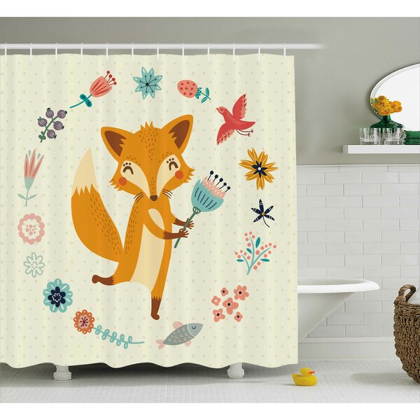 Jefferson Cute Animal with Floral Shower Curtain by Harriet Bee