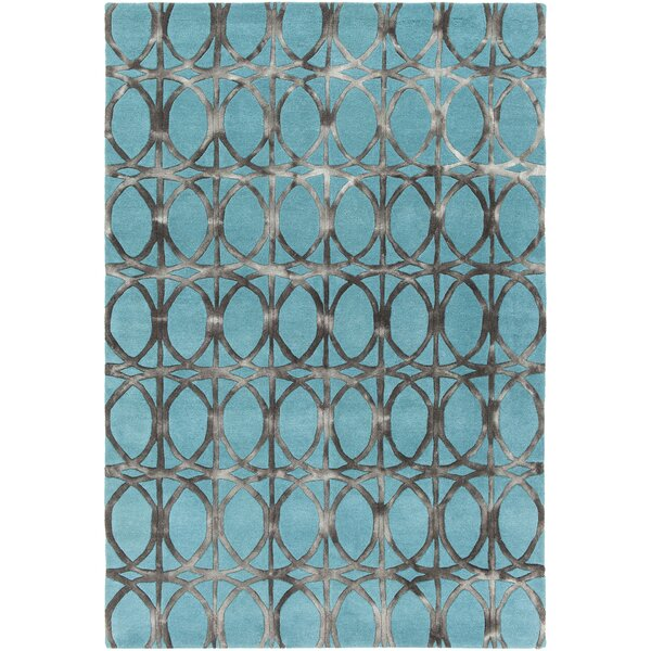 Savon Hand-Tufted Teal/Charcoal Area Rug by Everly Quinn