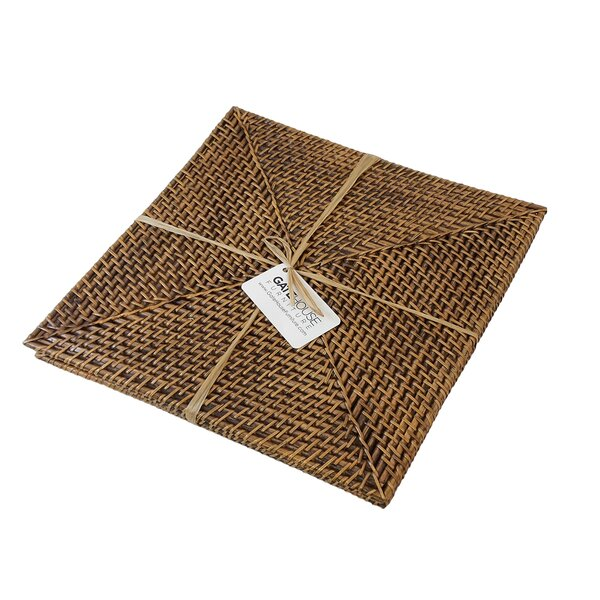 Rattan Bali Weave Square Placemat (Set of 4) by Gate House Furniture