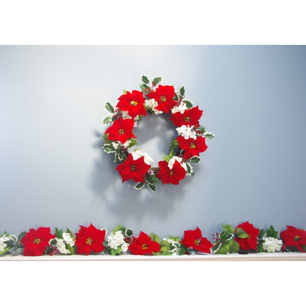 Poinsettia Hydrangea Christmas Garland by The Holiday Aisle