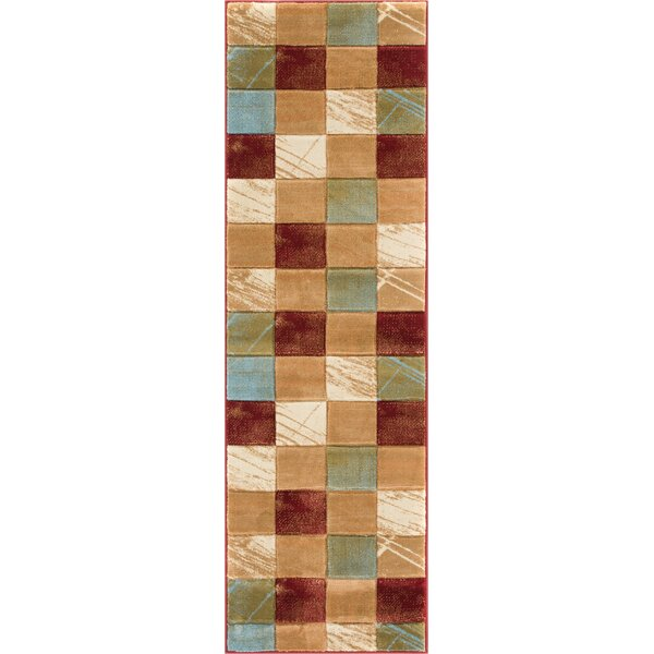 Atherton Modern Squares Beige/Red Area Rug by Winston Porter