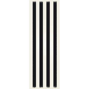 Find Cronk Strips Design Black/White Indoor/Outdoor Area Rug ByBreakwater Bay
