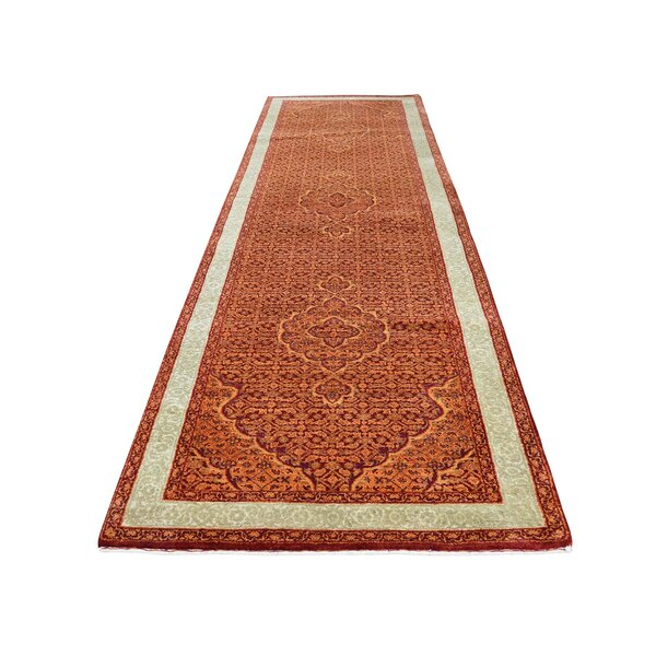 One-of-a-Kind Pinard Tabriz Mahi Hand-Knotted Silk Red Area Rug by World Menagerie