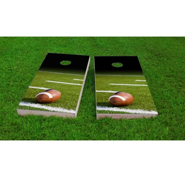 Football Field with Ball Cornhole Game Set by Custom Cornhole Boards