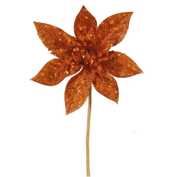 Glitter Poinsettia Flower Artificial Christmas Spray Pick by The Holiday Aisle
