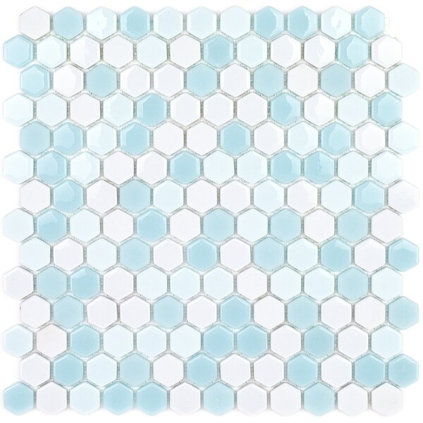 Recoup 11.5 x 12 Glass Mosaic Tile in Glacier by Splashback Tile