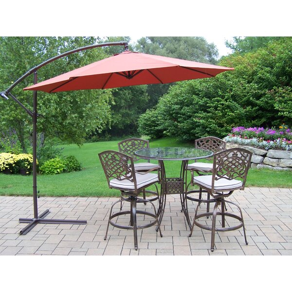 Wendling 5 Piece Bar Height Dining Set with Cushions and Umbrella