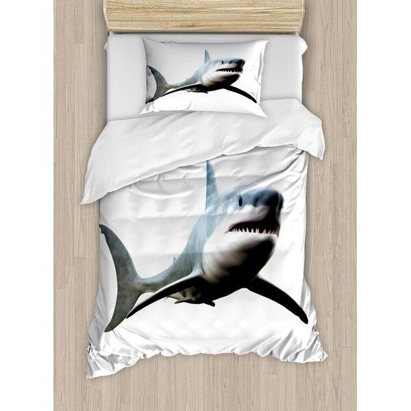 Shark Digital Illustration of Wild Sea Creature Character Computer Art Artifical Image Duvet Set by East Urban Home