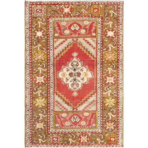 Sivas Hand Woven Wool Coral/Green Area Rug by Pasargad