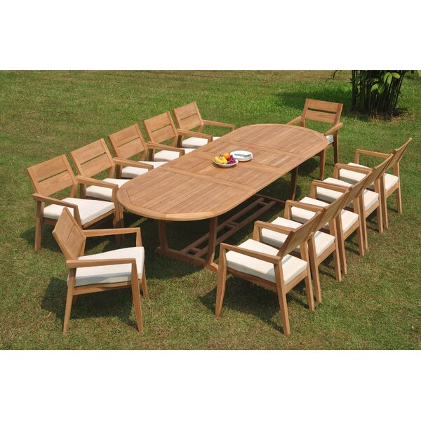 Pinar 13 Piece Teak Dining Set by Rosecliff Heights