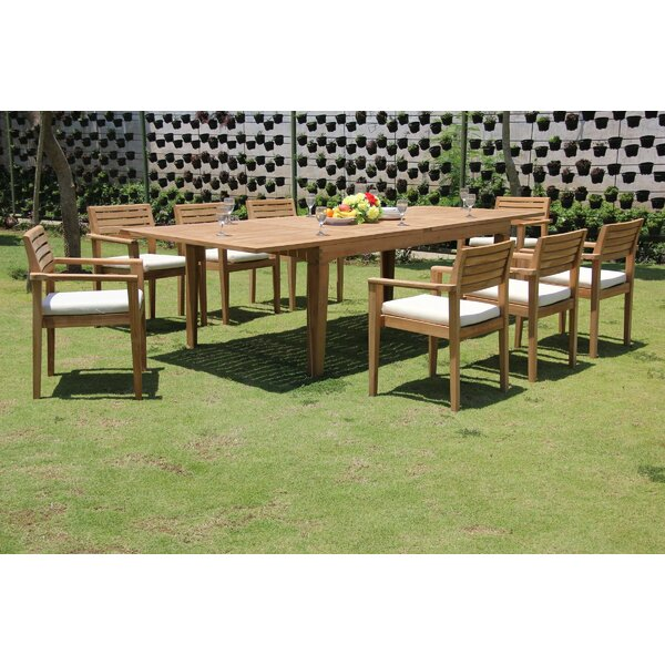 Freddie 9 Piece Teak Dining Set by Rosecliff Heights
