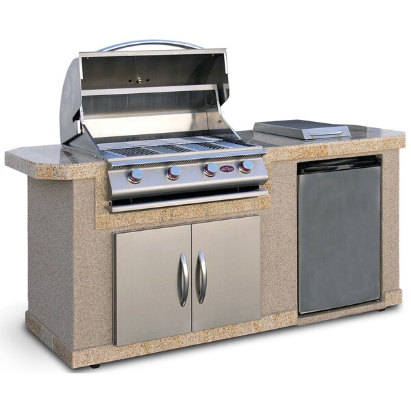 Outdoor Kitchen Islands 4-Burner Built-In Propane Gas Grill with Side Shelves by Cal Flame