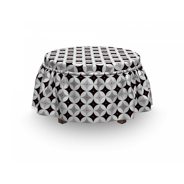 Mid Century Retro Atomic 2 Piece Box Cushion Ottoman Slipcover Set By East Urban Home