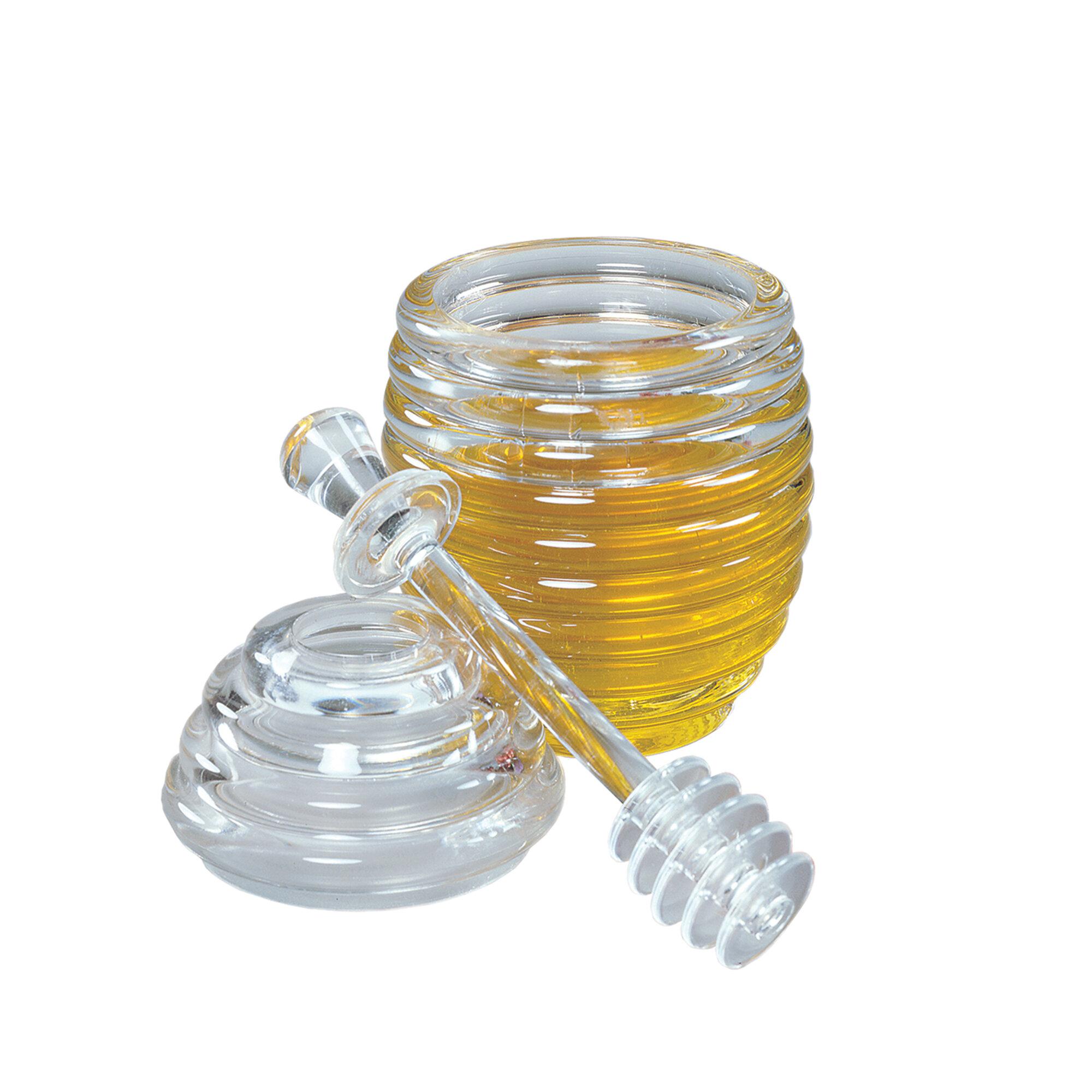 2-Piece Set Always Time For Tea White 5 x 5 Stoneware Honey Pot With Dipper