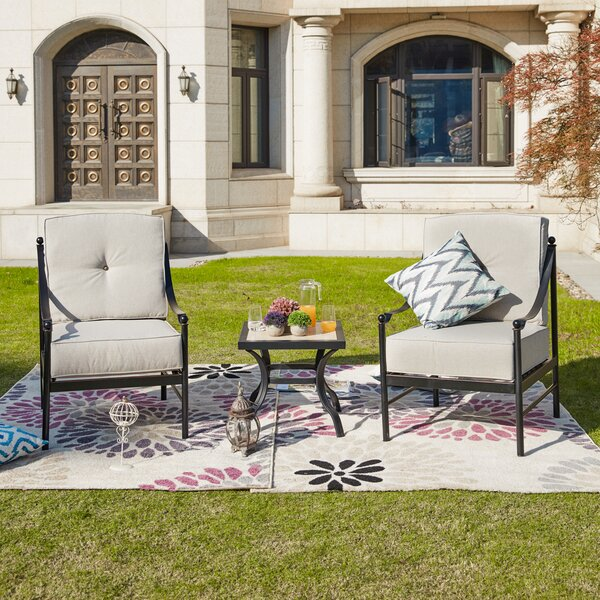 Strauch 3 Piece 2 Person Seating Group with Cushions by Charlton Home